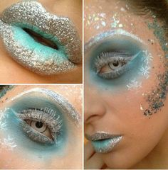 Snow Queen face painting paint blue ice snow flakes adult