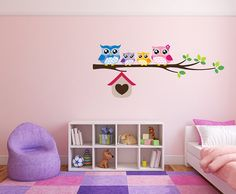 Full Colour Wall Decal Cute Owls on a Branch Nursery Baby Room Wall Sticker Kids