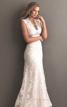 Lace keyhole back wedding dress. Allure 2619 Dress - MissesDressy.com