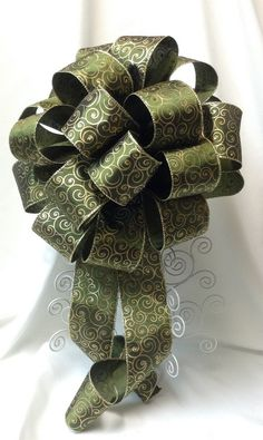 Green with Gold Swirls Tree Topper Bow  by BasketsFromAtoZ on Etsy