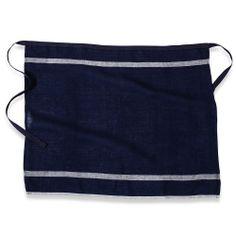 Khadhi Laundered Linen Apron (Indigo/White Stripe)