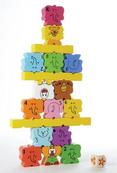 Use your creativity and Sense of Balance to Build the Most Elephantastic Pyramid! The elephants are ready to impress with this game of balance. Taking turns, roll the die to find out how many elephants you have to add to the pyramid. The player who puts the last elephant on the pyramid wins the game. A classic stacking game where kids can develop their spacial relationships and test motor skills. Ages 3+. 1 to 4 players.