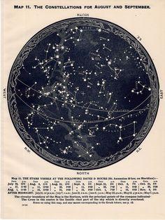 1926 august september october of southern hemisphere constellations original star map vintage celestial print
