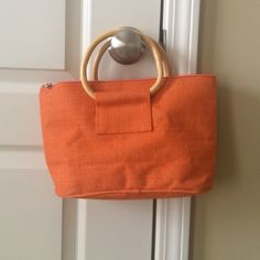 Rattan tote with wooden handles Never used Bags Totes
