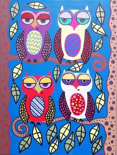 Items similar to Kerri Ambrosino Mexican Folk Art PRINT Day Time Owls Happy Trees on Etsy Folk Art Flowers, Flower Art, Canvas Art, Canvas Prints, Art Prints, Owl Wallpaper, Mexican Folk Art, Happy Colors, Colorful Pictures