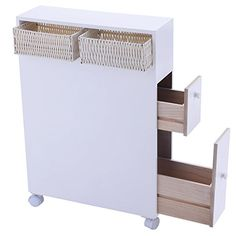 Tangkula Wood Floor Bathroom Storage Rolling Cabinet Holder Organizer Bath Toilet White Material: MDF Wood Color:White Overall Dimension: Size Of Basket: Package Includes: 1 X Floor Cabinet 2 X Baskets Slim Bathroom Storage Cabinet, Storage Cabinet With Drawers, Bathroom Floor Cabinets, Small Bathroom Storage, Wood Bathroom, Bathroom Flooring, Storage Cabinets, Bathroom Furniture, Storage Spaces
