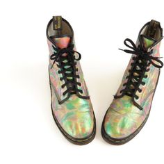 Dr Martens Pastel Goth Glitter Boots Abstract Print Vegan Boots Fabric... (440…