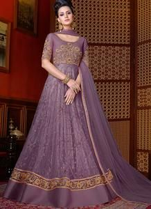 Dusty Purple Embroidered Net Anarkali Suit