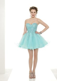 Short strapless pastel teal blue evening dress with tutu skirt from Sticks & Stones By Mori Lee (Style: 9081).