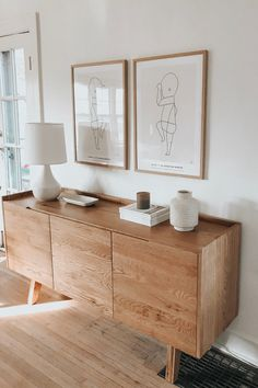 Madera Oak Sideboard - Three cabinets swing out to reveal generous and versatile storage spaces that feature a single adjustable shelf. Photo by Breanne Brenton. Living Room Decor, Bedroom Decor, White Wall Bedroom, Oak Bedroom, Living Room Storage, Bedroom Small, Bedroom Storage, White Walls, Oak Sideboard