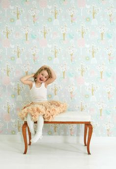 "Majvillan Wallpaper Company brings us this grey children's wallpaper ""Cherry Valley"" where little birds sit on sweet dreams in a valley of flowers Non-Woven Wallpaper (paste the wall) Washable & Eco-Friendly Roll Size: x Repeat: Straight Match Grey Childrens Wallpaper, Baby Wallpaper, Baby Tapeten, Elegante Y Chic, French Country Bedding, Amber Room, Valley Of Flowers, Cherry Valley, Wallpaper Companies"