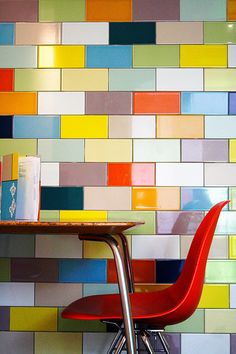 A mismatch of bright colored tile. Peyton & Byrne, London