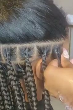 A close up of how it's done. For more style inspiration and. # scalp Braids close together Knotless box braids # diy scalp Braids Box Braids Hairstyles, Braided Hairstyles For Black Women, Baddie Hairstyles, Protective Hairstyles, Protective Styles, Natural Hair Braids, Braids For Black Hair, Medium Hair Braids, Curly Hair Styles