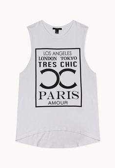 "A muscle tee featuring a ""Los Angeles, London, Tokyo, Paris, Tres Chic"" graphic. Round neckline. Oversized raw cut armholes. Finished trim. Slight high-low hem. Knit. Lightweight.  £12.75 by Forever 21"