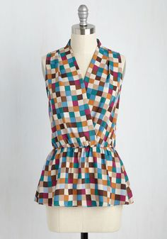 Great Gal in the Corner Office Sleeveless Top in Checkers. When the dress code of your workplace is anything but business as usual, this colorful top will help you fit right in - and stand out, too! #multi #modcloth