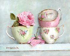 PRINT ON PAPER - Stacked Tea Cups