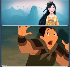 Mulan's response to her new look.