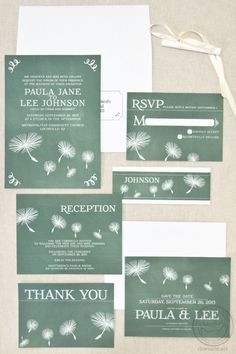 This chalkboard wedding invitation set features drawn dandelion seeds. Fully customizable.