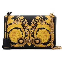 Versace baroque print leather shoulder bag ($2,325) ❤ liked on Polyvore featuring bags, handbags, shoulder bags, black, shoulder handbags, studded purse, studded handbags, leather purses and studded leather purse