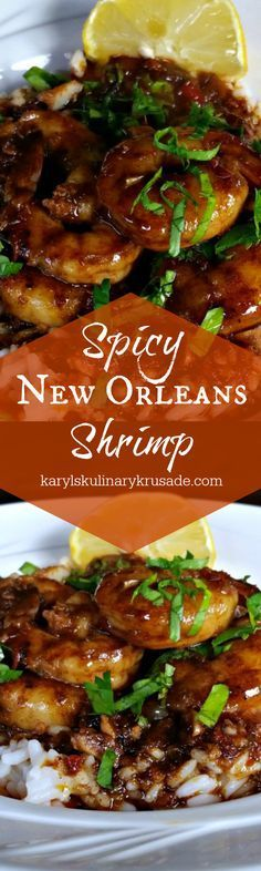 Craving spice, flavor and seafood all in one? Spicy New Orleans Shrimp will take care of all of these in one bold, flavorful dish. Prawn Recipes, Cajun Recipes, Fish Recipes, Seafood Recipes, Great Recipes, Dinner Recipes, Cooking Recipes, Favorite Recipes, Healthy Recipes