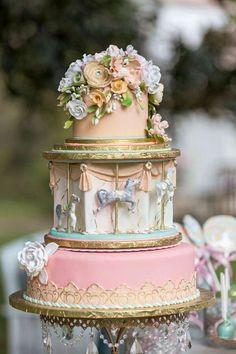 carousel & flowers cake