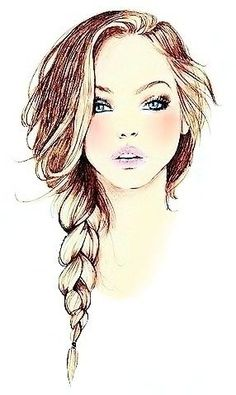 The most important thing a girl wears is her confidence. Fashion Illustration love the hair and the cheeks Drawing Faces, Drawing Sketches, Art Drawings, Pencil Drawings, Sketching, Portrait Au Crayon, Arte Fashion, Illustration Mode, Fashion Illustration Hair
