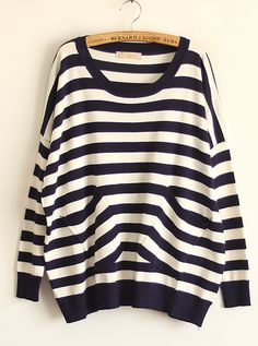 Double Pocket Striped Navy Sweater