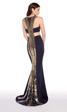 Alyce Paris - 60008 Metallic Beaded Racerback Sheath Gown In Blue and Gold Shrug For Dresses, Casual Dresses, Dress Up, Formal Dresses, Couture Dresses, Fashion Dresses, Evening Dresses, Prom Dresses, Gold Evening Gowns