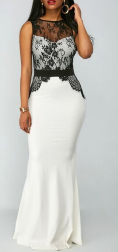High Waist Lace Panel Zipper Back Mermaid Dress