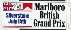 1979 MARLBORO BRITISH GP SILVERSTONE F1 ORIGINAL RACE STICKER ADESIVO AUFKLlEBER