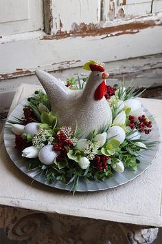 Easter Flowers, Easter Table, Hens, Rooster, Succulents, Spring, Garden, Kitchen, Baby