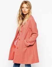 Coat by ASOS Collection Mid-weight, wool blend Super textured finish Notch lapels Button through front Seam panel detailing Silky feel lining Regular fit - true to size Dry clean Polyester, Wool Our model wears a UK 4 and is tall Post Sleeve, Pink Jacket, Models, Couture, Mannequin, Winter Coat, Mantel, Wool Blend, Fashion Online