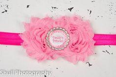 Daddy's Princess Pink Baby headband, Baby headbands, Daddy's girl headband,newborn pink headband,Valentines Day Headband,baby girl headband. by GirliesGalore on Etsy https://www.etsy.com/listing/222047700/daddys-princess-pink-baby-headband-baby
