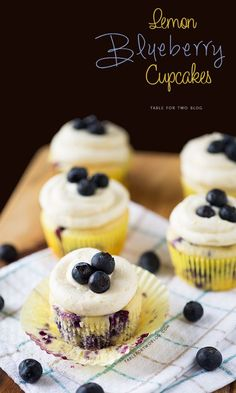Lemon Blueberry Cupcakes - Table for Two® by Julie Wampler Cupcake Recipes, Baking Recipes, Cupcake Cakes, Dessert Recipes, Cup Cakes, Lemon Blueberry Cupcakes, Blueberry Recipes, Yummy Treats, Sweet Treats