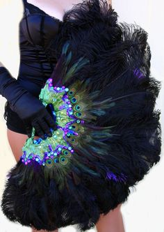 Burlesque Showgirl Jeweled PEACOCK & Ostrich by sajeeladesign, $239.95