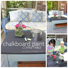 chalkboard paint coffee table (outdoor)