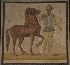 Mosaic depicting a charioteer and horse from one of the four stables (Green), 3rd century AD, Palazzo Massimo all Terme, Rome   Flickr - Photo Sharing!