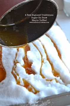 Maple toffee- a fun way to make candy with kids called Sugar on Snow.  #kidsactivities #indooractivities #toffee