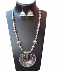 Oxidised german silver round pendant long neckpiece with jhumka
