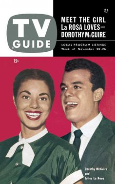 TV Guide, November 20, 1953 - Dorothy McGuire and Julius La Rosa
