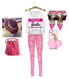 """""""Barbie"""" by myerslauren on Polyvore featuring Boohoo, Valentino, River Island and Yves Saint Laurent"""