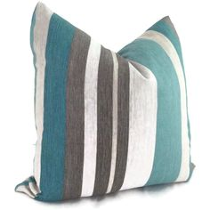 Teal+Decorative+Pillows | Turquoise, Teal and Gray Stripe Linen Decorative Pillow Cover