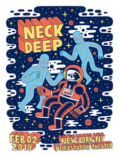 Gig posters created for the band Neck Deep's 2018 American tour Punk Poster, Poster S, Typography Poster, Tour Posters, Band Posters, Music Posters, Neck Deep Tour, Festival Posters, Concert Posters