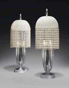 France. A pair of table lamps circa 1925 ~ designer: Emile-Jacques Ruhlmann
