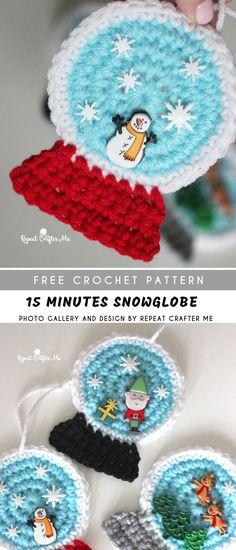 931f3689ef925b 15 minutes Snowglobe Crochet Ornament with Free Pattern