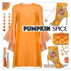"""""""Group Contest!  Pumpkin Spice * Orange Outfit"""" by calamity-jane-always ❤ liked on Polyvore featuring Benedetta Bruzziches, Chanel, Rebecca de Ravenel, Galvan, Yves Saint Laurent, NYX, Shiseido, fashionset and pumpkinspice"""