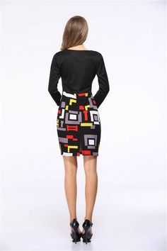 Female Woman Vintage Summer Dress Zipper Office Party Body con ITC508