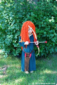 Know a little girl who wants to be Merida from the movie Brave? Here's how to make a Wig & Accessory (with links to how to make the costume itself) from Sew Can Do.