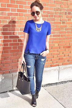 As seen on // Makayla of style blog Fashionably Kay - Poppy Lux Ronelle Tulip Hem Top - Cobalt Blue Image