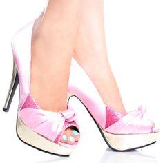 Pink-Satin Glitter Peep Toe Metallic Womens High Heel Platform Shoes $23.99